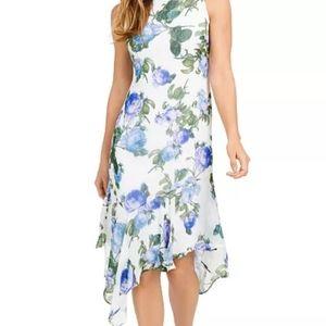 NWT Calvin Klein Black & Blue Floral Dress